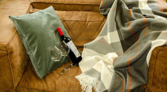 """Representación de un """"vino tranquilo"""", en un sofá y con una manta"""