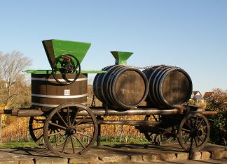 Una máquina para prensar el vino